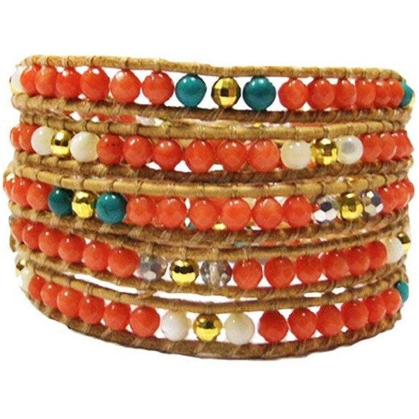 Chan Luu Style Wrap Bracelet Orange Coral and Turquoise - Beads and Dangles - 1