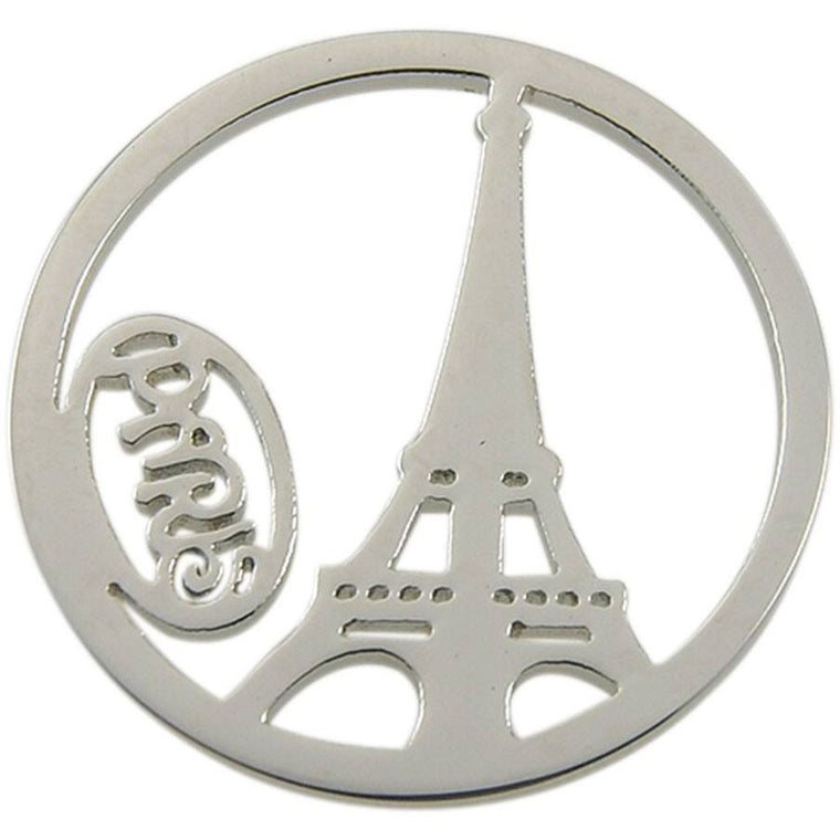Stainless Steel Coin Disc Eiffel Tower Paris 33mm - Beads and Dangles