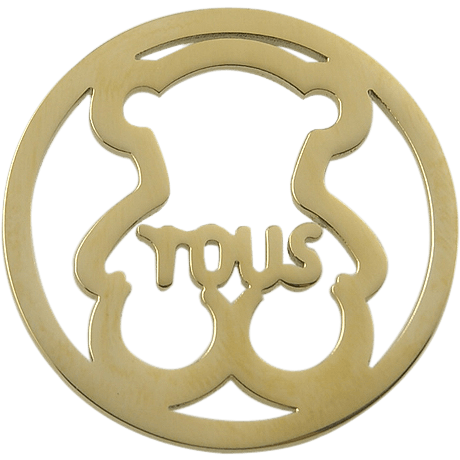 Stainless Steel Coin Disc Gold Plated Cuddly Bear with Tous 33mm - Beads and Dangles