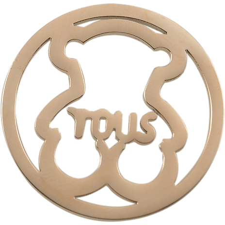 Stainless Steel Coin Disc Rose Gold Plated Cuddly Bear with Tous 33mm - Beads and Dangles