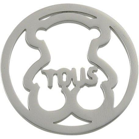 Stainless Steel Coin Disc Cuddly Bear with Tous 33mm - Beads and Dangles
