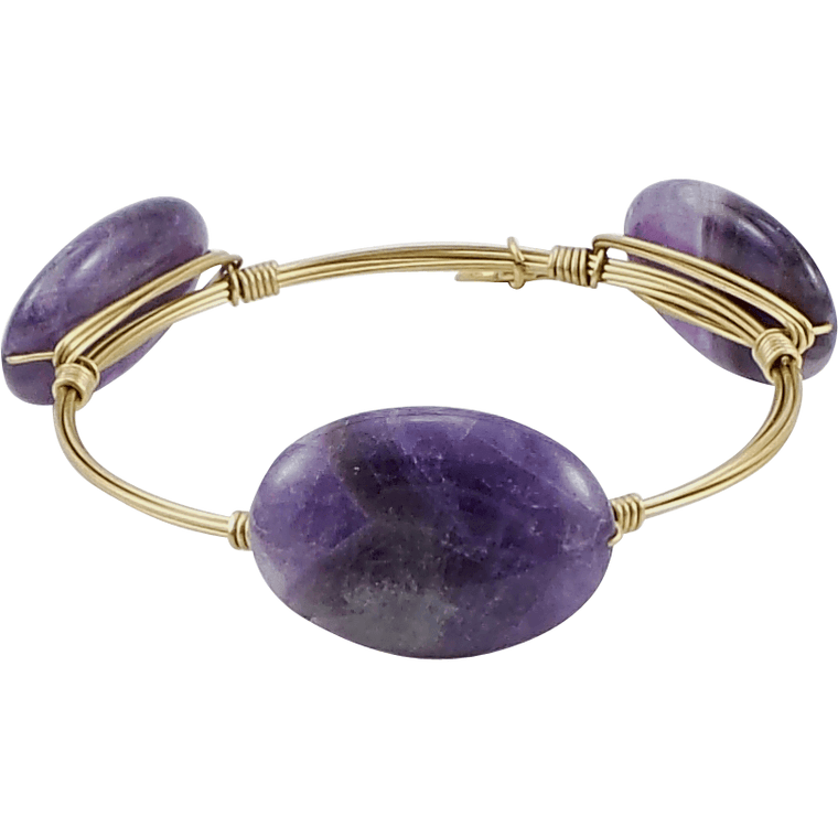 Crystal Wire Bangle Amethyst Oval Stones - Beads and Dangles