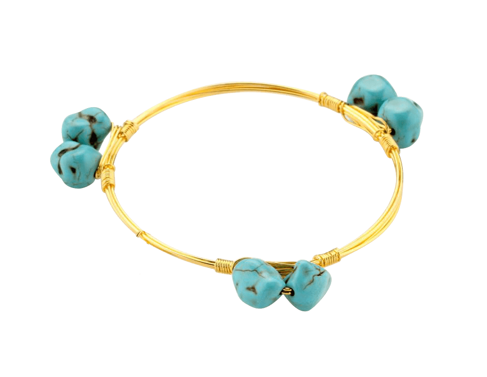 Crystal Wire Bangle Turquoise Stones - Beads and Dangles