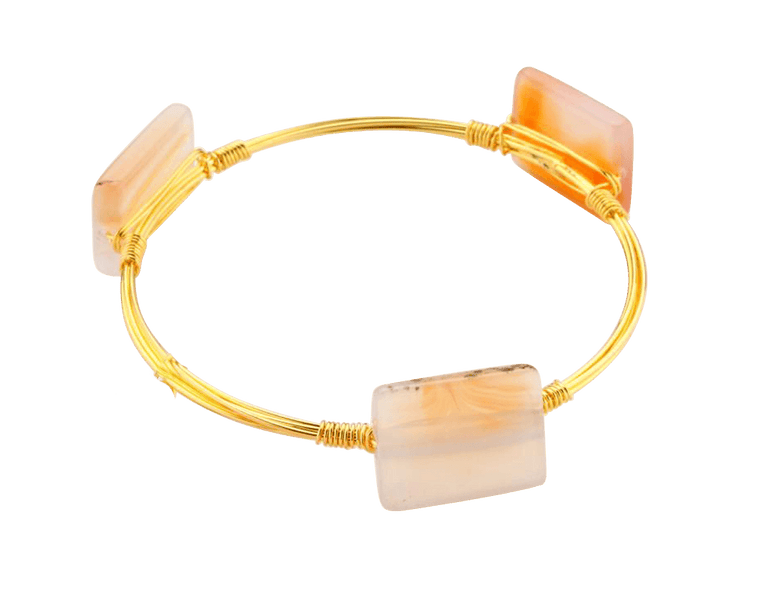 Crystal Wire Bangle Agate Ivory - Beads and Dangles