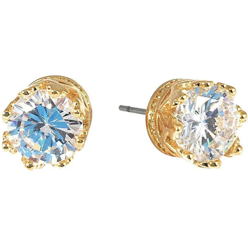 Cubic Zirconia Earrings Round Stud - Beads and Dangles