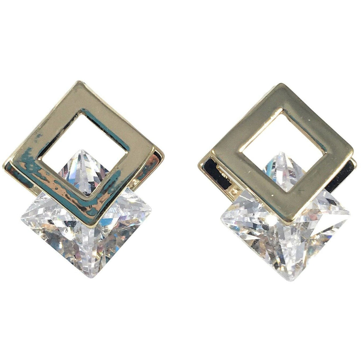 Cubic Zirconia Earrings 20mm x 15mm - Beads and Dangles