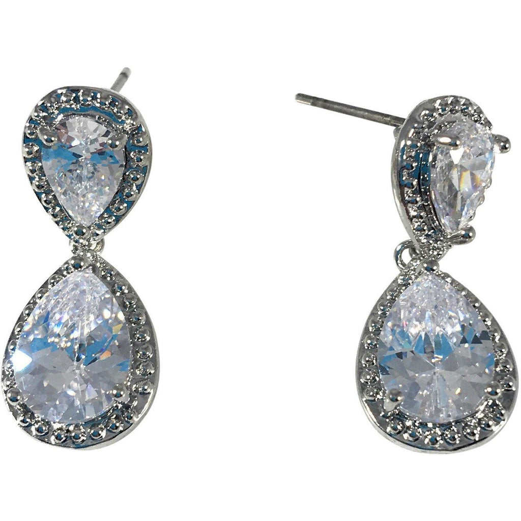 "Cubic Zirconia Earrings Pear Drop Stud 1"" Long - Beads and Dangles"