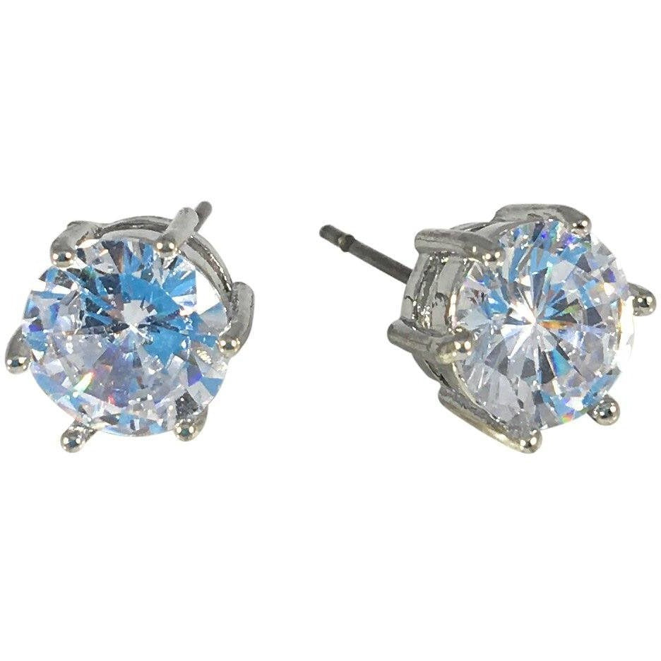 "Cubic Zirconia Earrings Round Silver Plated Stud 8mm, 0.31"" - Beads and Dangles"