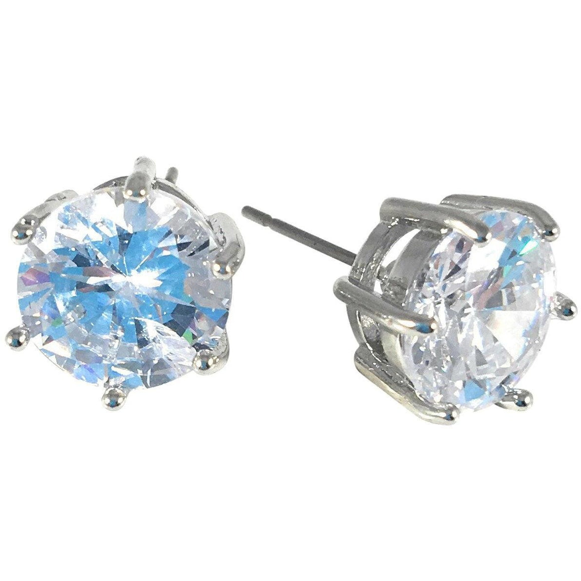 Cubic Zirconia Earrings Round Stud 10mm - Beads and Dangles