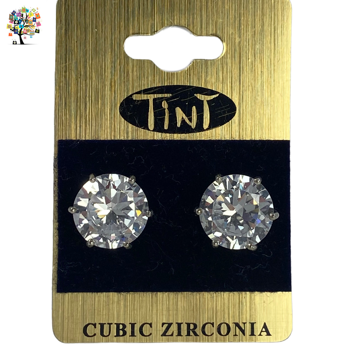 Cubic Zirconia Earrings Round Silver Plated Stud 13mm