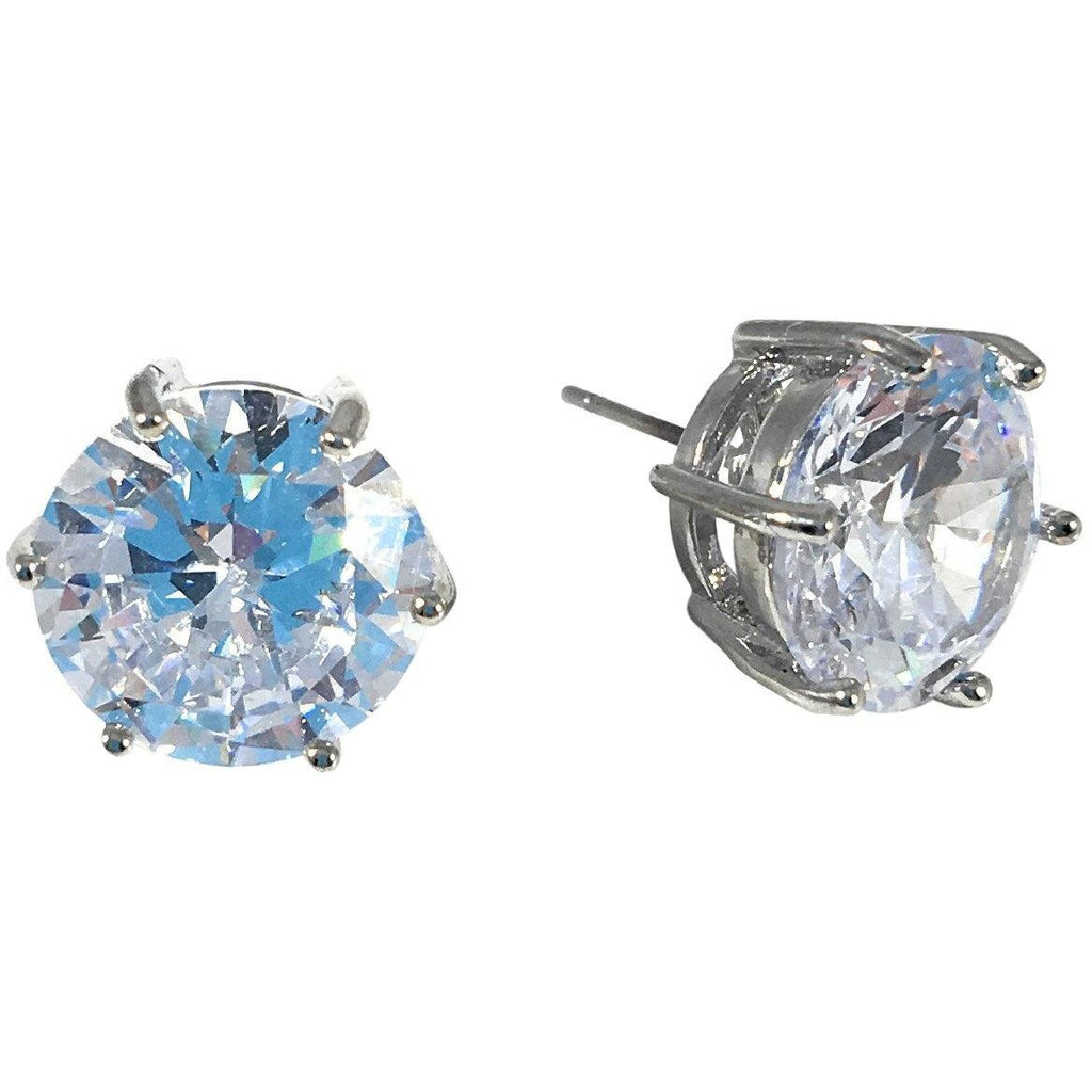 Cubic Zirconia Earrings Round Silver Plated Stud 13mm - Beads and Dangles