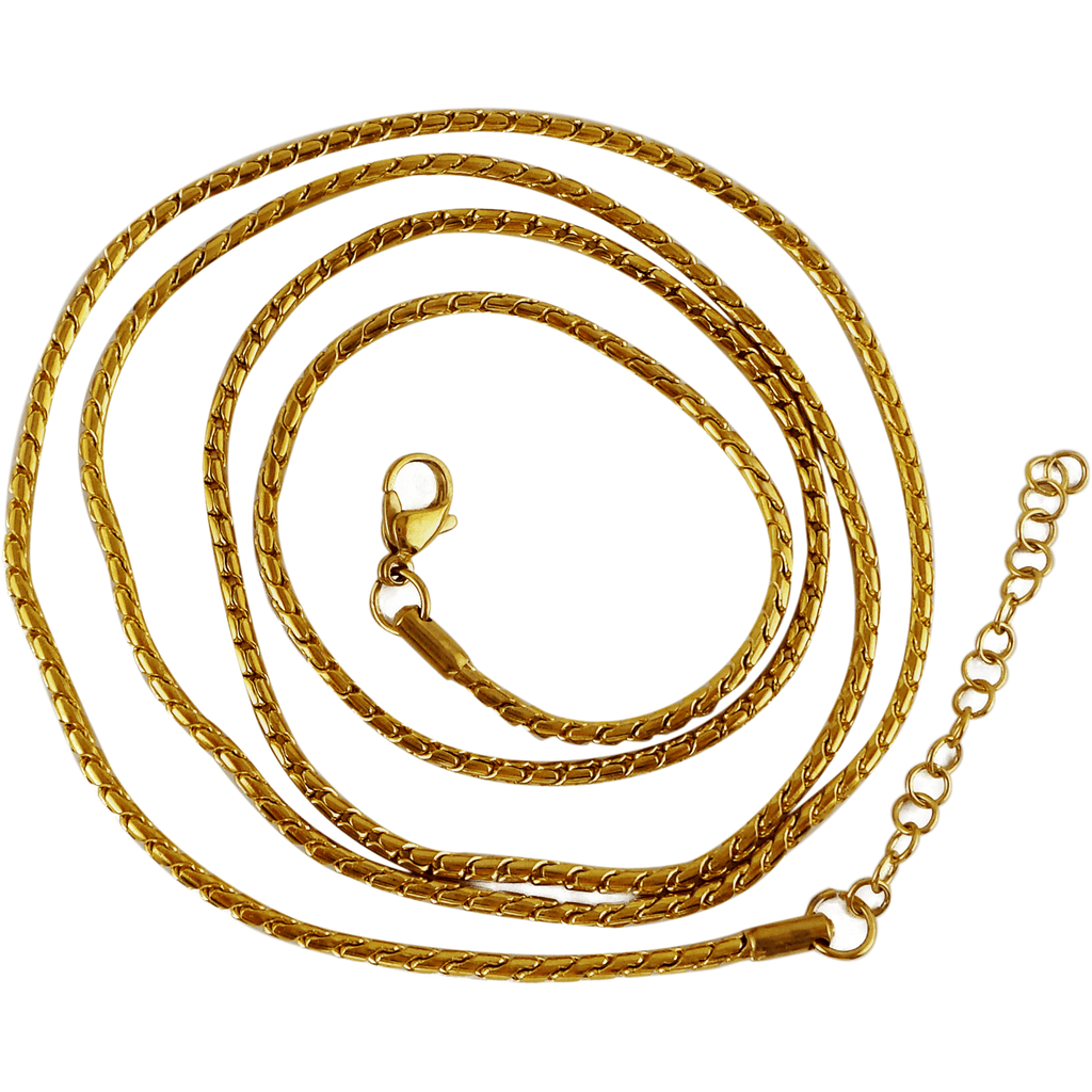 "Stainless Steel Gold Plated Snake Ball Chain 80cm (approx. 31.5"") and 2"" Extender - Beads and Dangles"