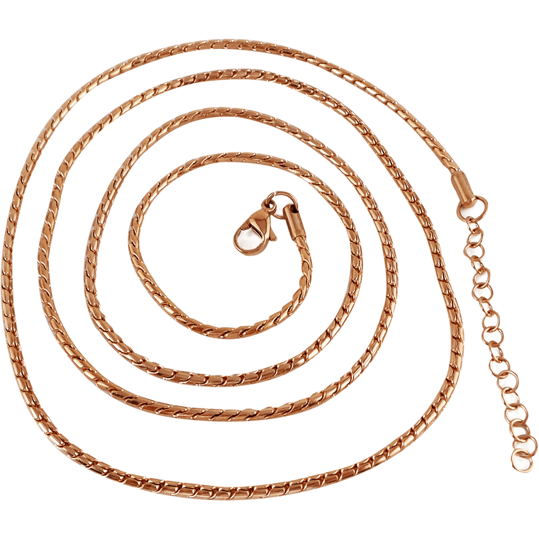 "Stainless Steel Rose Gold Plated Snake Ball Chain 80cm (approx. 31.5"") and 2"" Extender - Beads and Dangles"