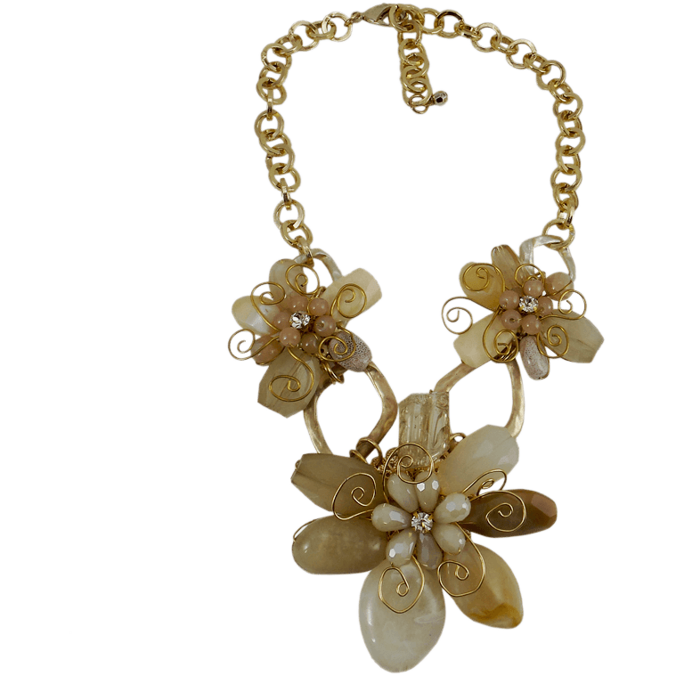 "Chunky Statement Necklace Beige and Taupe Flowers Metal Chain 18"" Adjustable - Beads and Dangles"