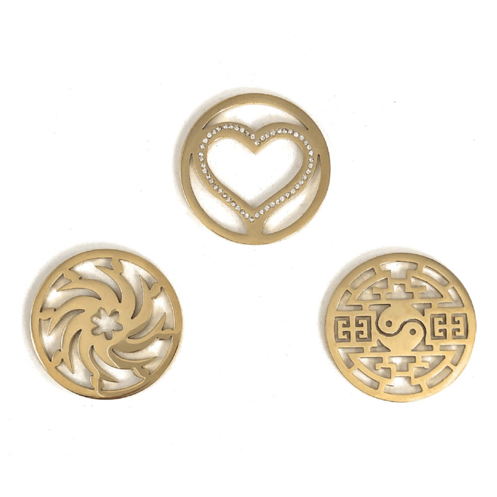 Coin Discs Set of 3 Gold Plated Stainless Steel 33mm for Interchangeable Coin Lockets - Beads and Dangles