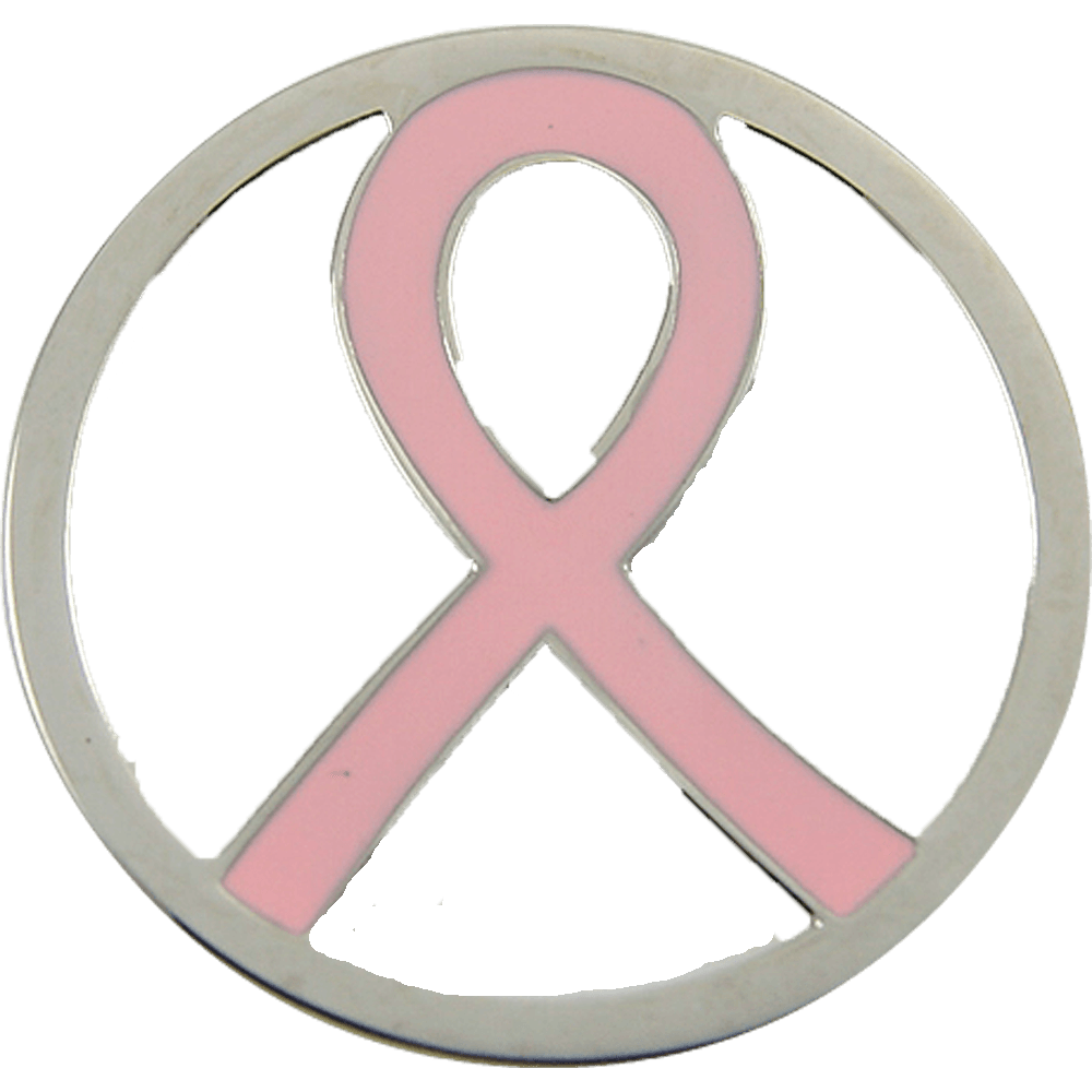 Stainless Steel Coin Disc Pink Ribbon Breast Cancer 33mm - Beads and Dangles
