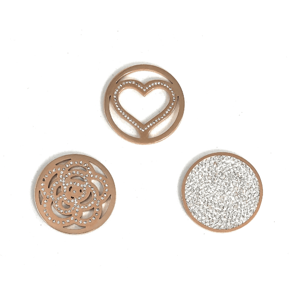Coin Discs Set of 3 Rose Gold 33mm - Beads and Dangles
