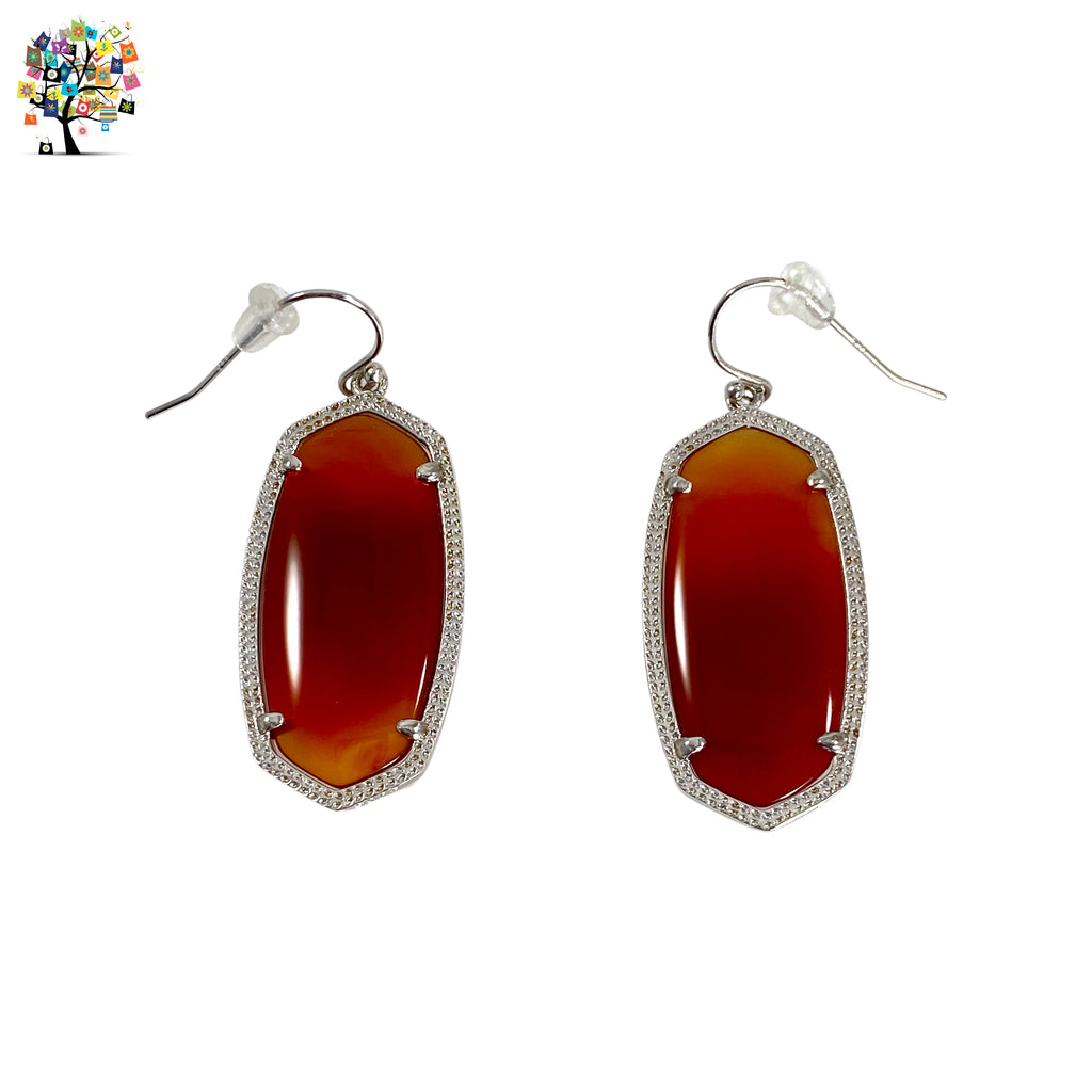 Drop Earrings Red Agate in 925 Sterling Silver
