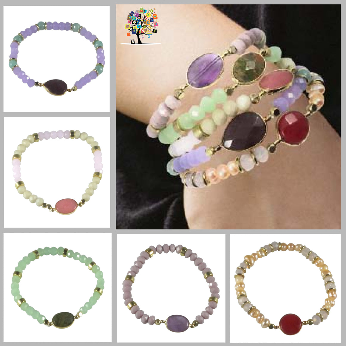 Stretch Bracelet Handcrafted Glass Beads Natural Stone Set of 5