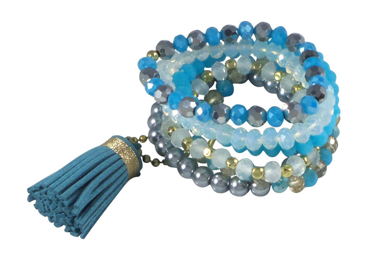 BOHO Stack Stretch Bracelet Set of 6 with Tassel (Turquoise) - Beads and Dangles