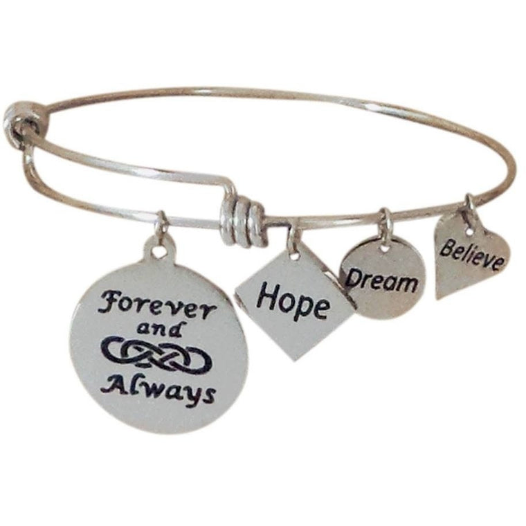 Stainless Steel Expandable Charm Bangle Bracelet Forever and Always Double Infinity - Beads and Dangles