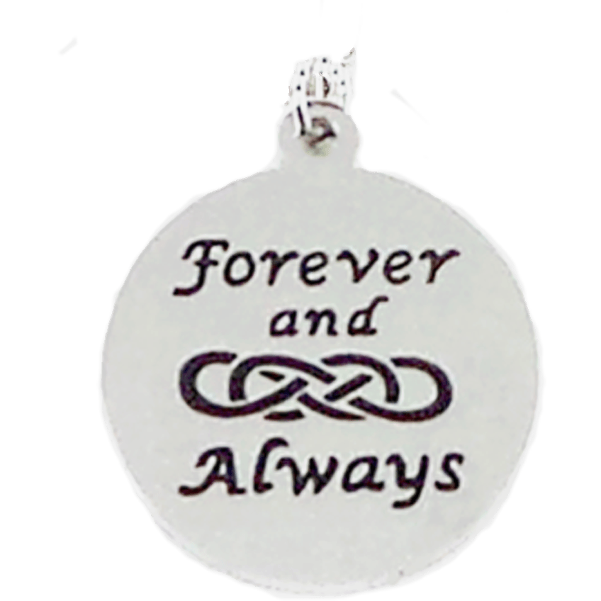 Stainless Steel Charm Forever and Always Double Infinity - Beads and Dangles