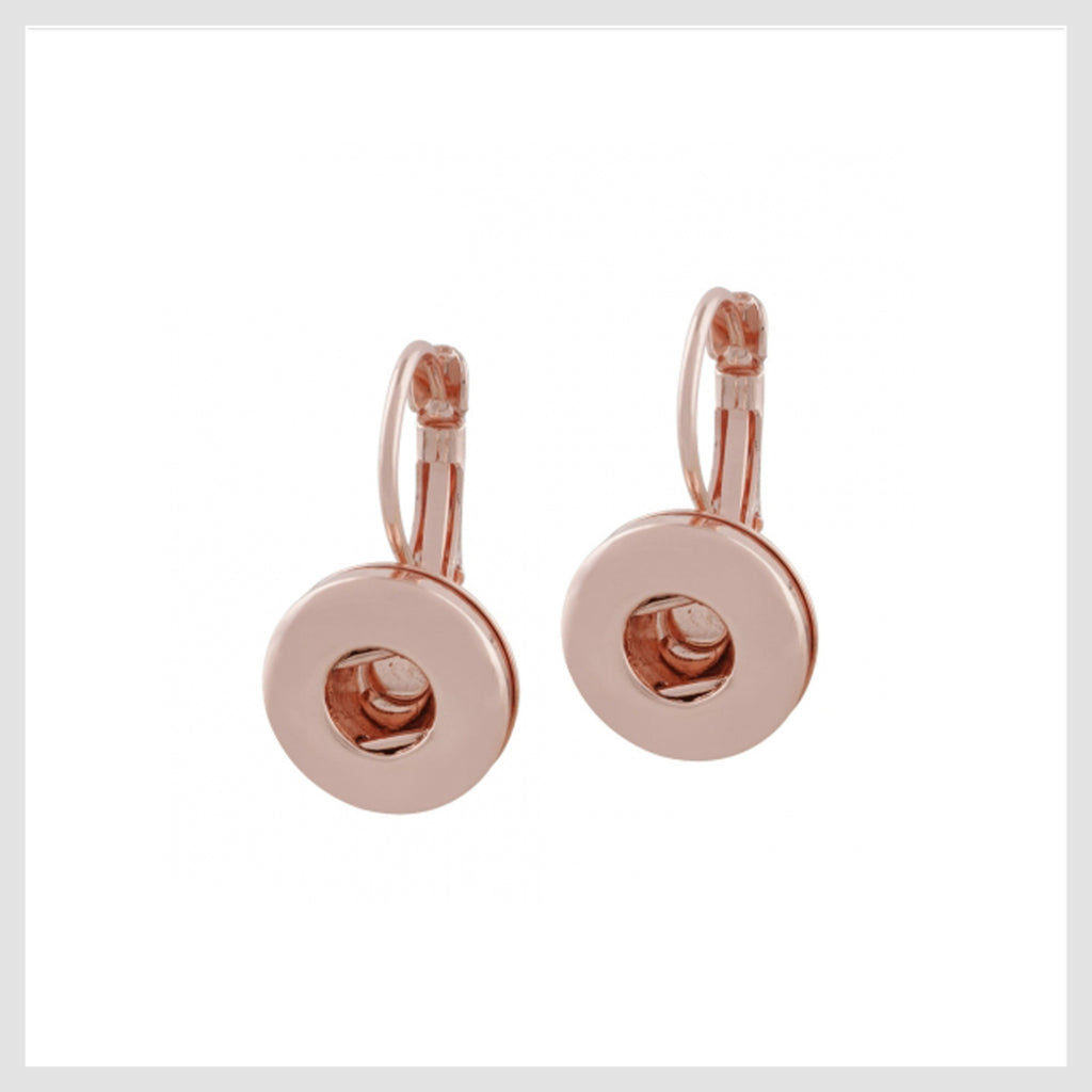 Rose Gold Plated Snap Charm Huggie Earrings for Mini 12 mm - Beads and Dangles