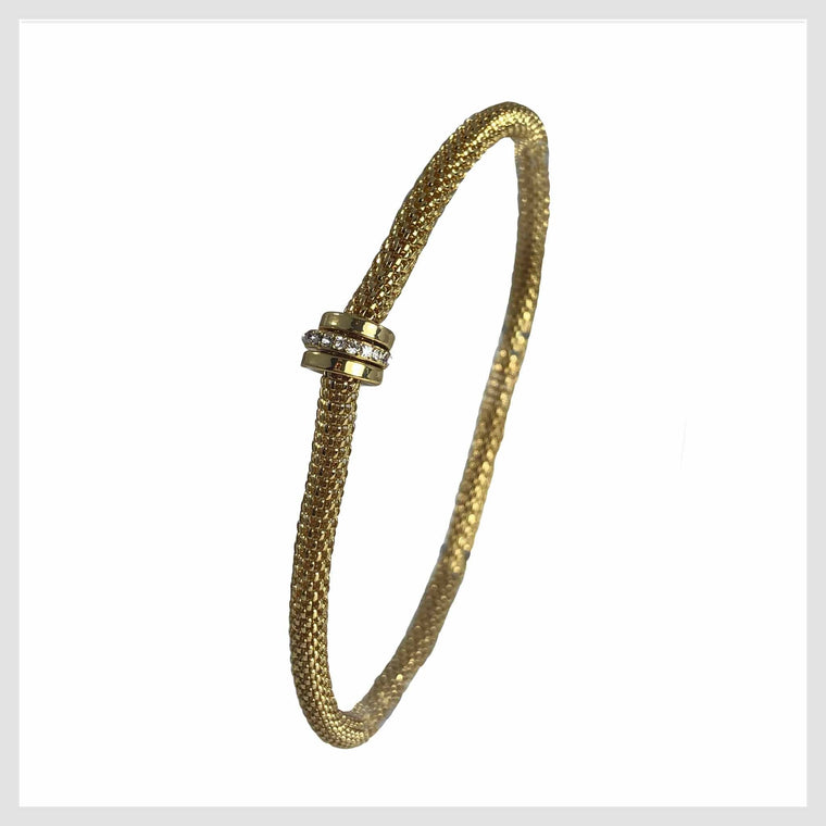 12K Gold Plated Mesh Chain Stretch Bracelet with Crystal Accent Rings - Beads and Dangles