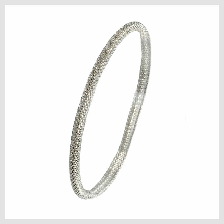 925 Sterling Silver Plated Mesh Chain Stretch Bracelet (Silver 4mm Smooth) - Beads and Dangles