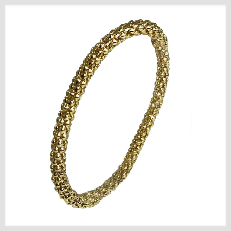12K Gold Plated Mesh Chain Stretch Bracelet (Gold 6mm Textured) - Beads and Dangles