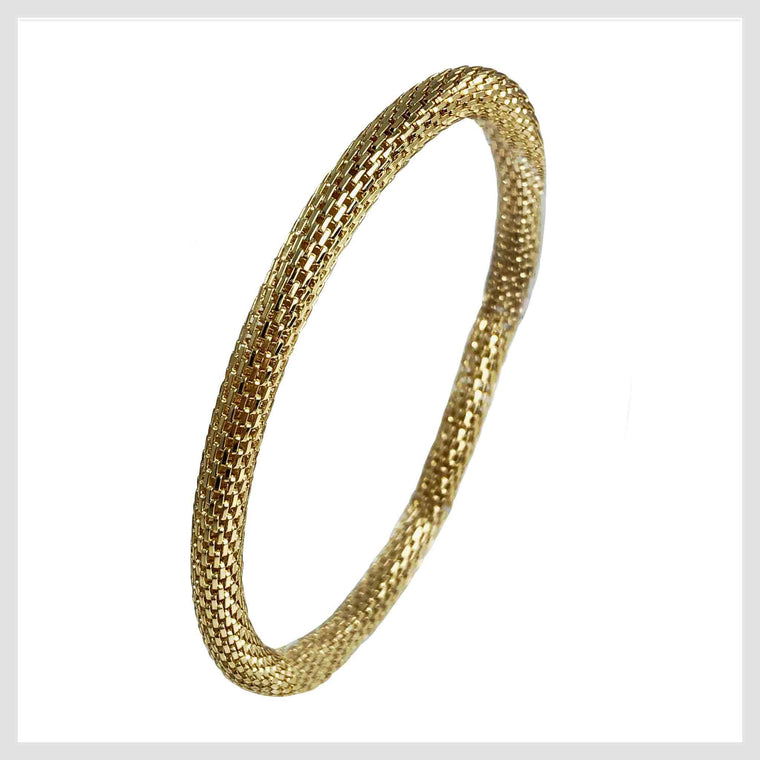 12K Gold Plated Mesh Chain Stretch Bracelet (Gold 6mm Smooth) - Beads and Dangles