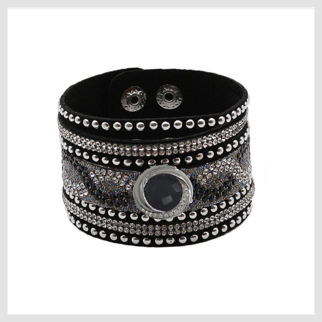"Boho Black Leather Bling Cuff Bracelet for 20mm 3/4"" - Beads and Dangles"