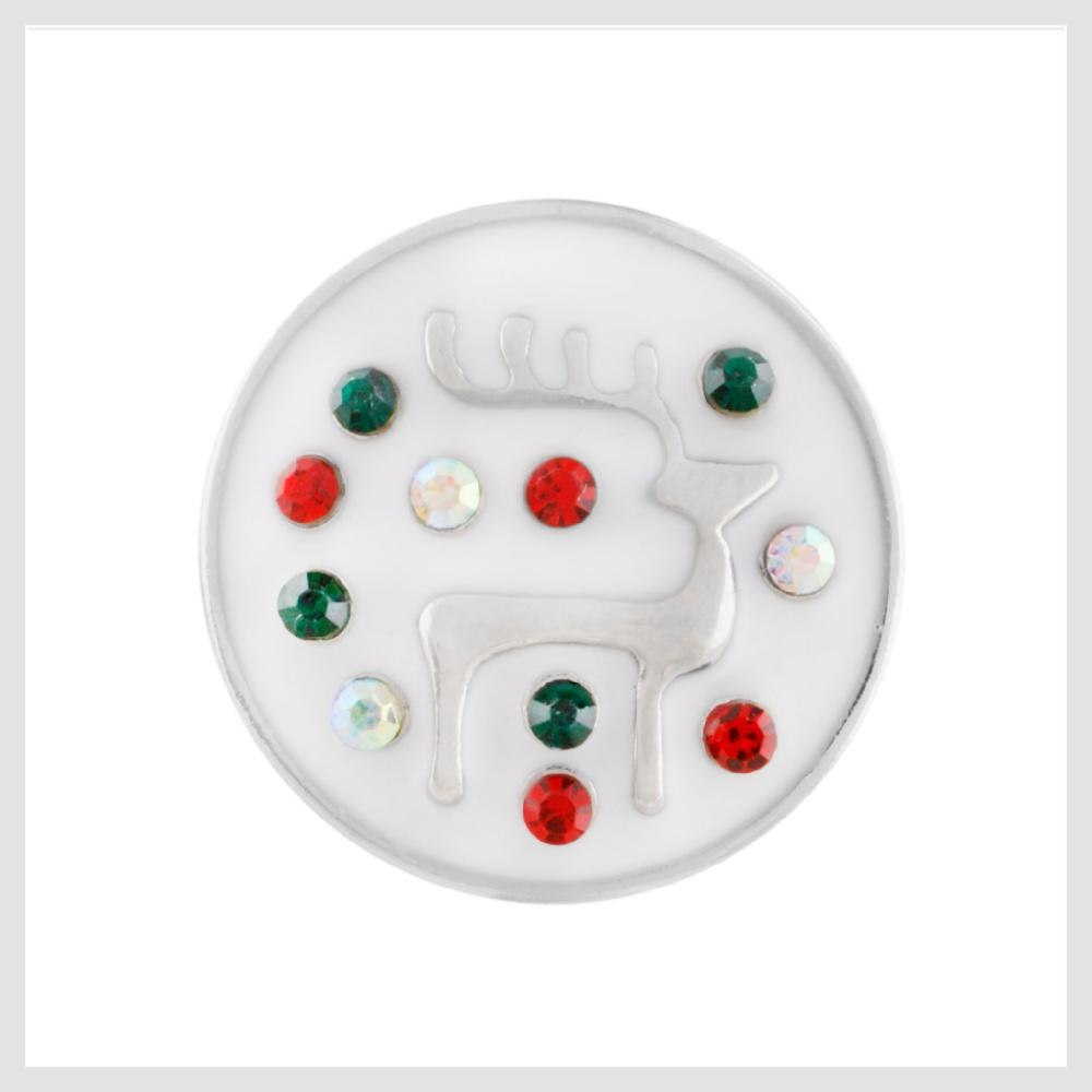 "Christmas Rudolph The Red Nosed Reindeer Enamel Snap Charm 20mm 3/4"" - Beads and Dangles"