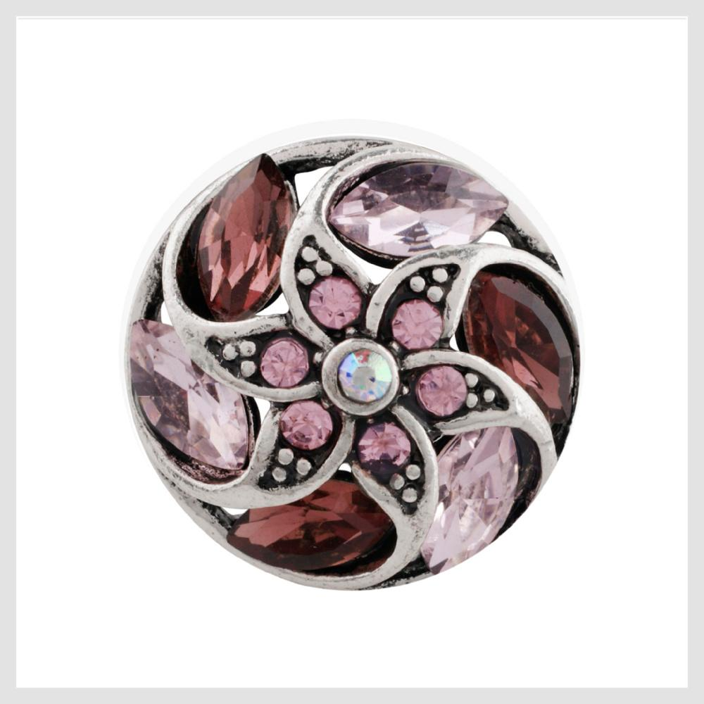 "Pink and Purple Stones Flower Pinwheel 20mm 3/4"" Diameter - Beads and Dangles"