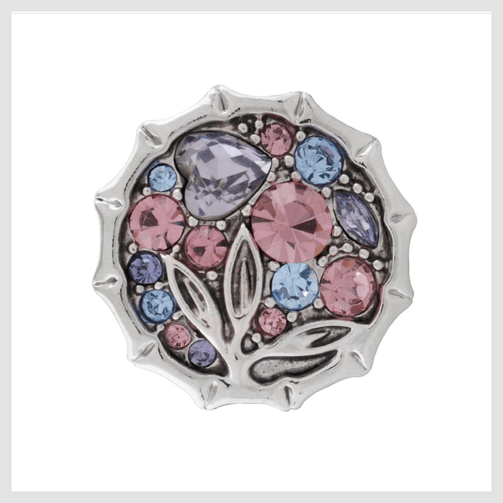 Snap Charm Pink Blue Lavender Purple Stones 20mm 3/4""