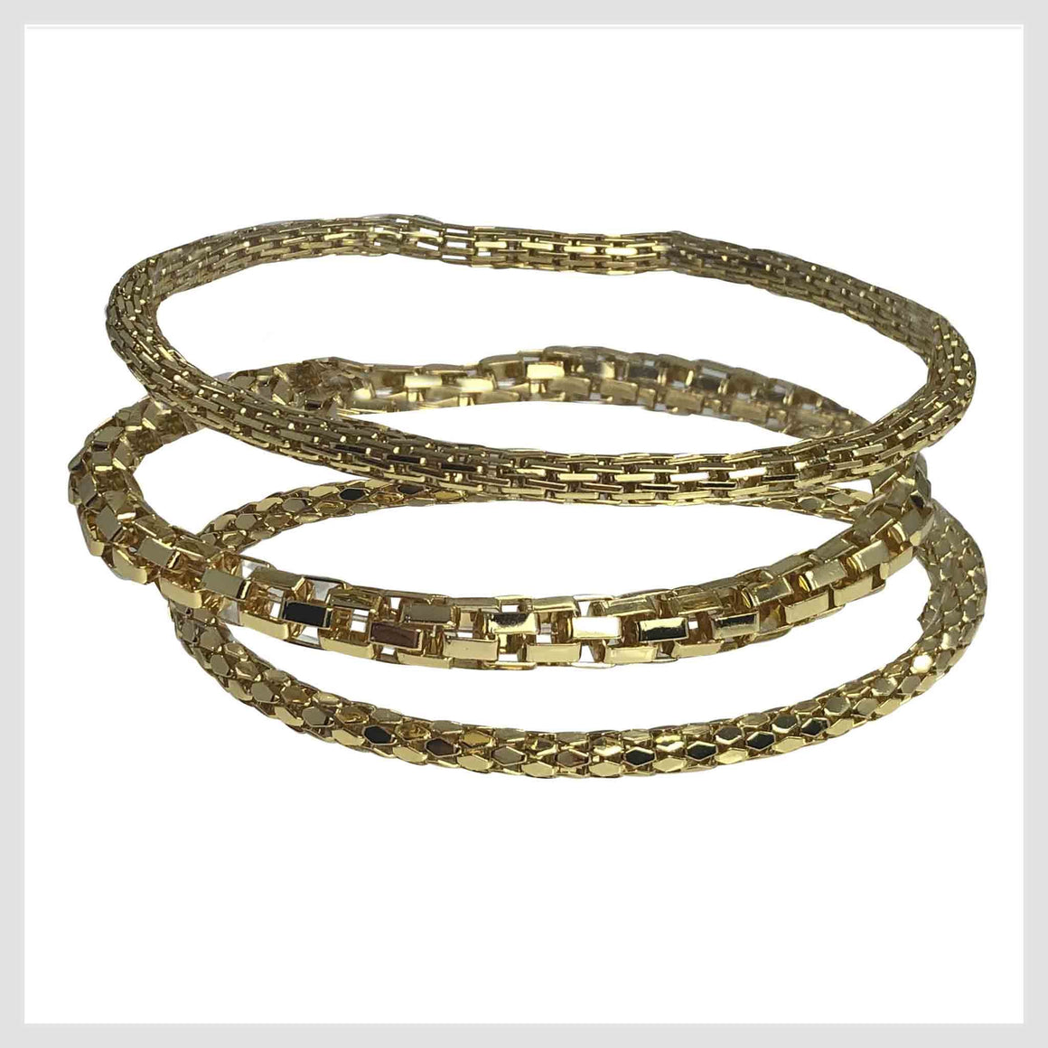 12K Gold Plated Mesh Chain Stretch Bracelet Set of 3 Hex, Textured, Box Link - Beads and Dangles