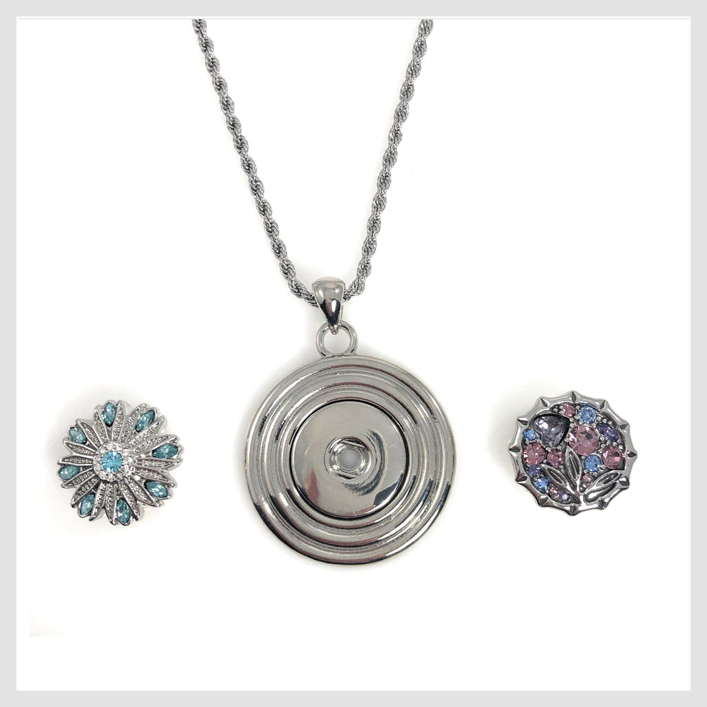 "Pendant with Concentric Circles 18"" Chain for Standard Snaps 20mm 3/4"" Includes Two Snaps Shown - Beads and Dangles"