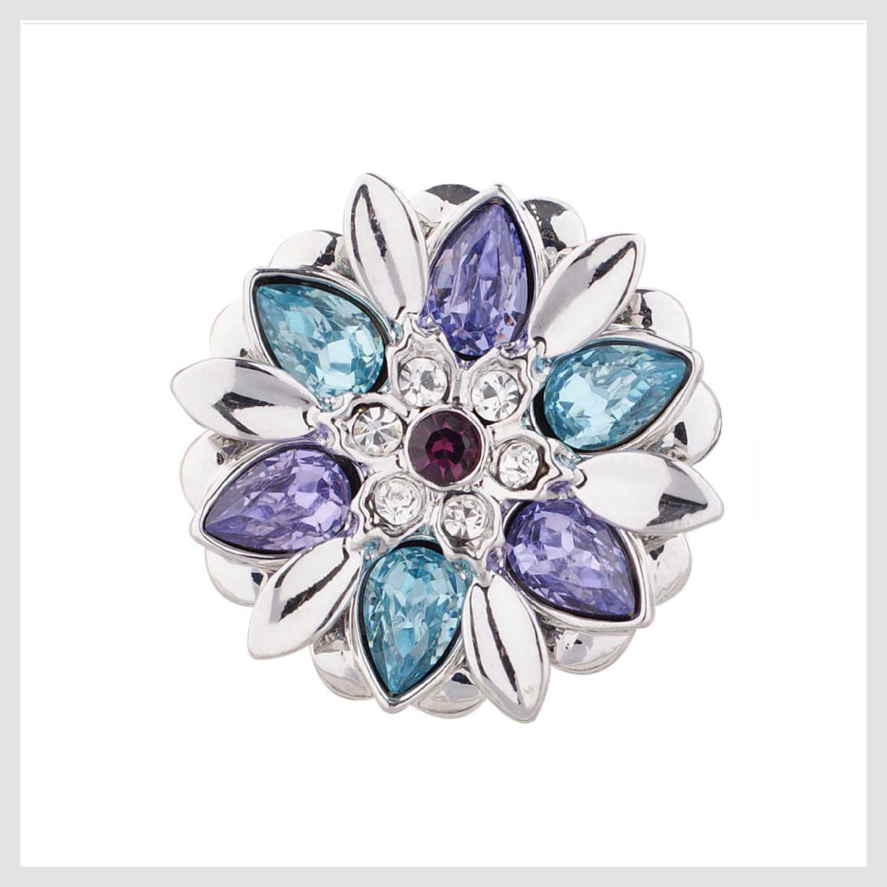 "Snap Charm Flower Purple and Aquamarine Rhinestones 20mm 3/4"" - Beads and Dangles"