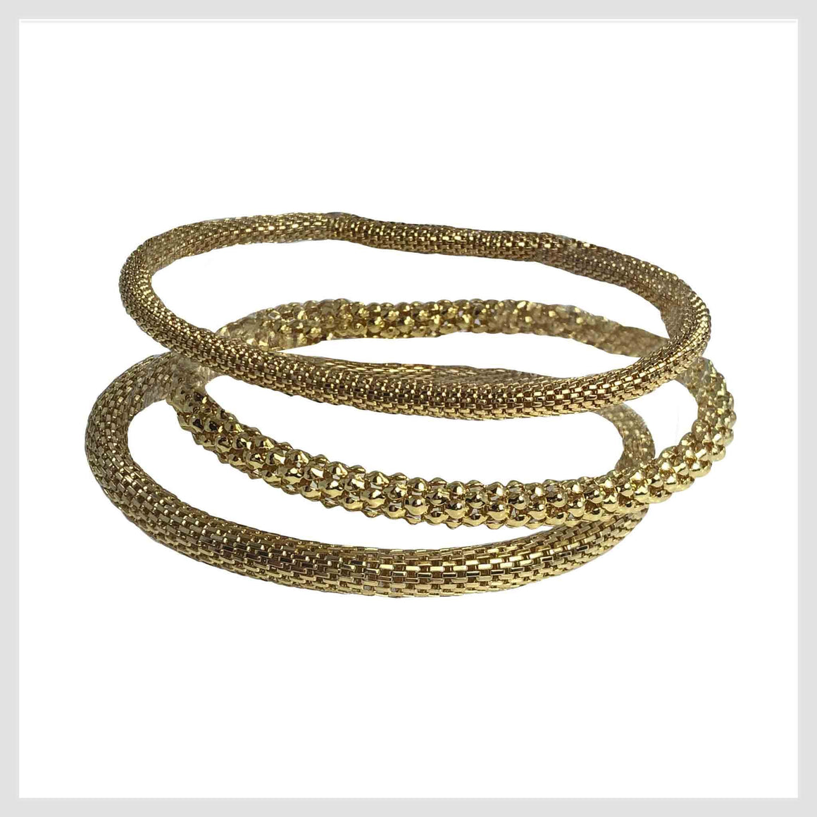 12K Gold Plated Mesh Chain Stretch Bracelets Set of 3 (4mm and 6mm smooth, 6mm textured) - Beads and Dangles