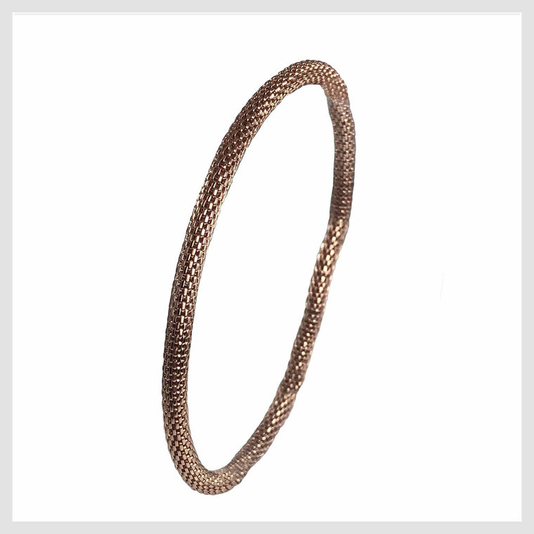 Rose Gold Plated Mesh Chain Stretch Bracelet 4MM - Beads and Dangles