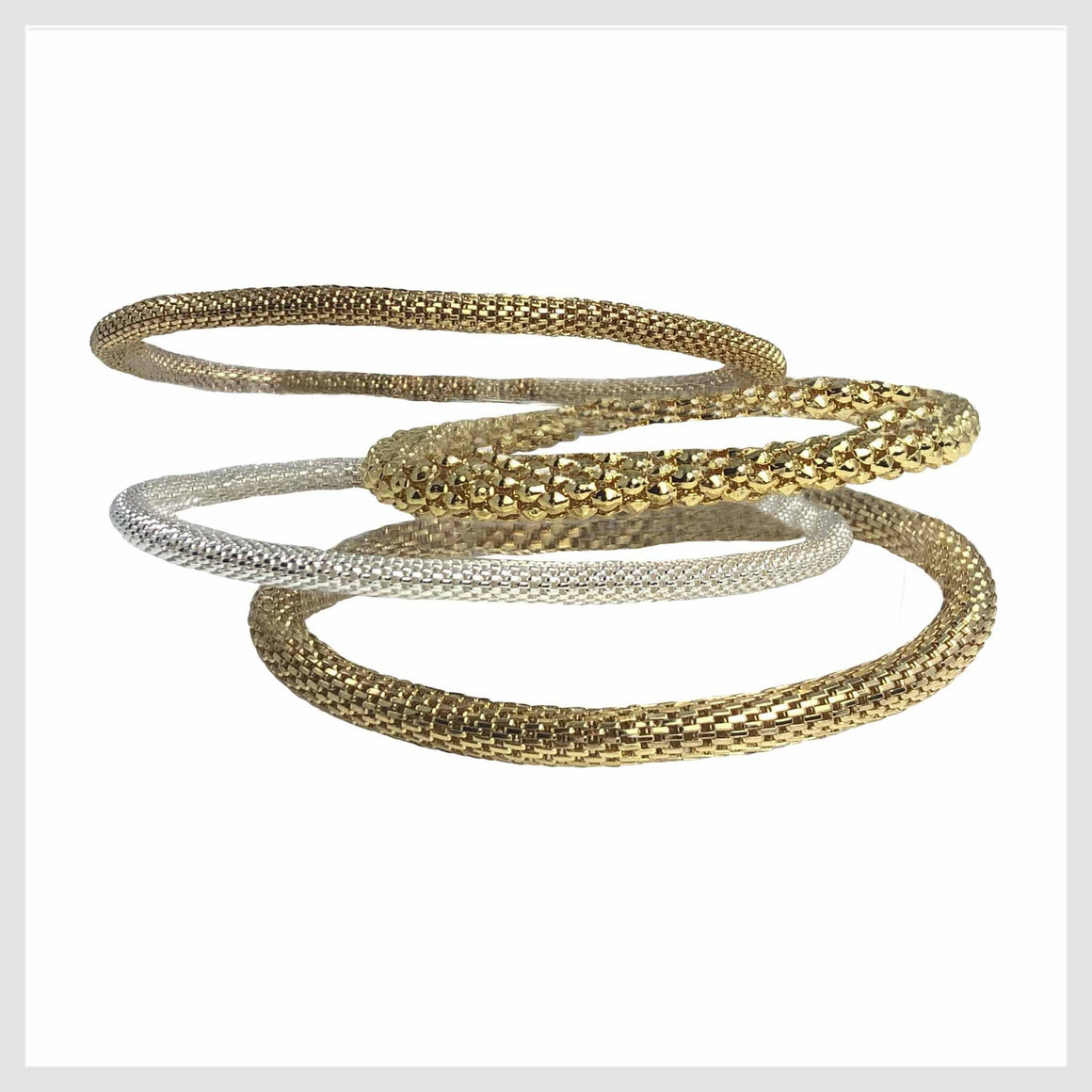 12K Gold and 925 Silver Plated Mesh Chain Stretch Bracelets Set of 4 (Two 4mm Two 6mm) - Beads and Dangles