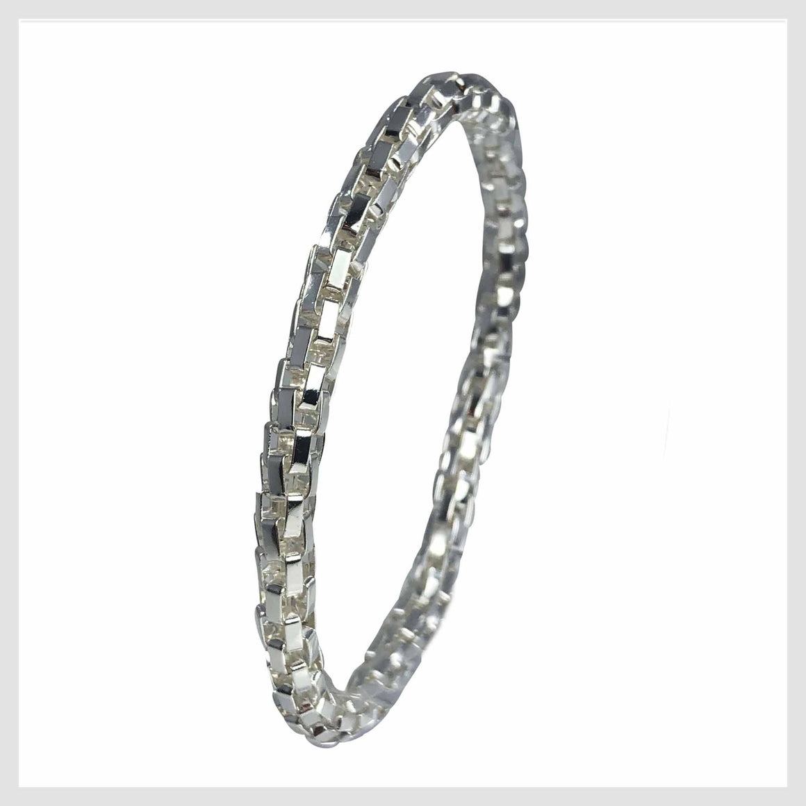 925 Sterling Silver Plated Mesh Chain Stretch Bracelet (Silver 6mm Box Links) - Beads and Dangles