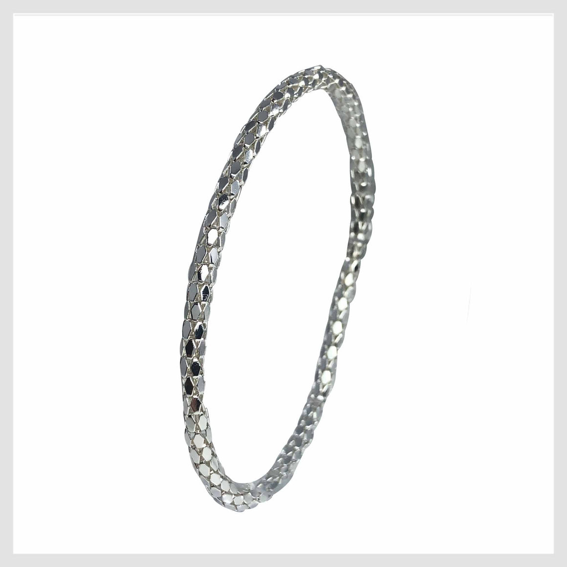 925 Sterling Silver Plated Mesh Chain Stretch Bracelet (Silver 4mm Hexagon Links) - Beads and Dangles