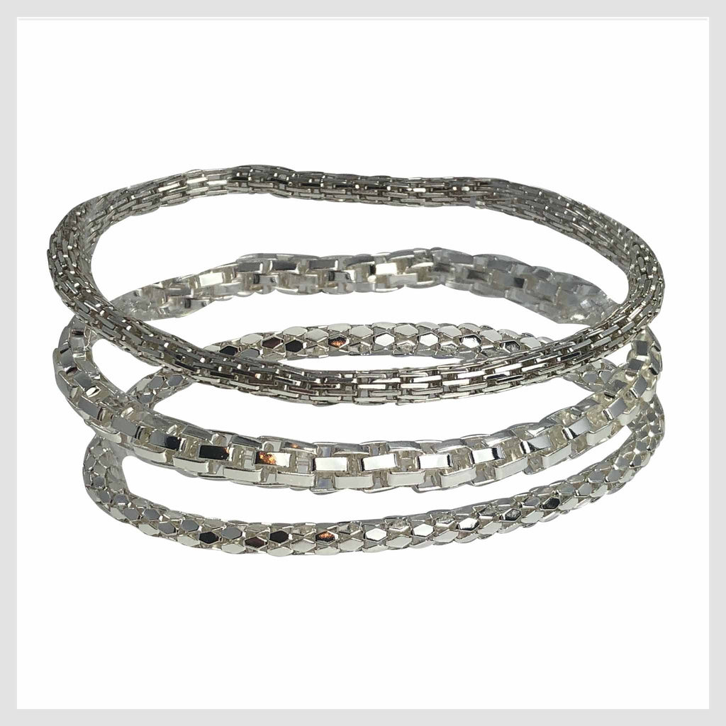 925 Sterling Silver Plated Mesh Chain Stretch Bracelet Bracelets Set of 3 (Two 4mm One 6mm) - Beads and Dangles