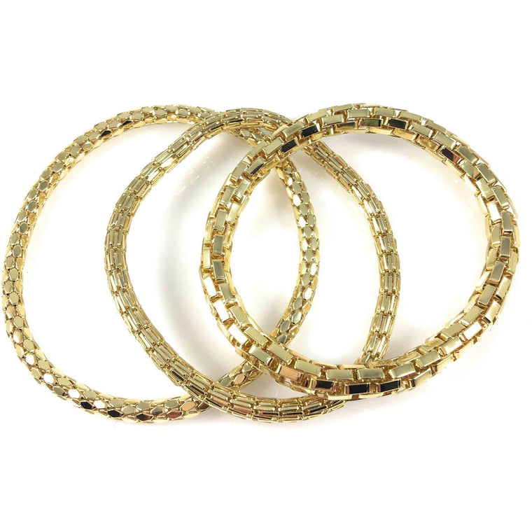 12K Gold Filled Mesh Chain Stretch Bracelet Bracelets Set of 3 (Two 4mm One 6mm) - Beads and Dangles