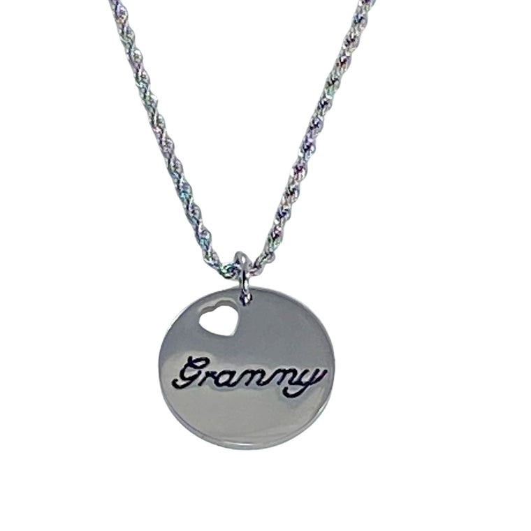 "Granny Stainless Steel Charm Necklace 18"" Chain"