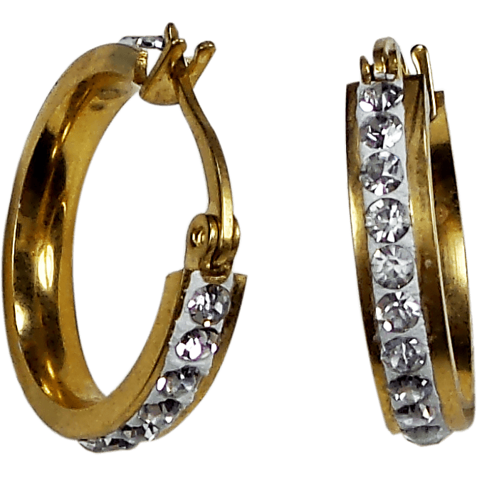 Gold Plated Stainless Steel Round Huggies Hoop Earrings Crystals 3mm x 21mm x 20mm - Beads and Dangles
