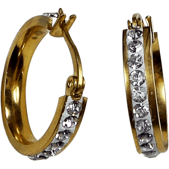Gold Plated Stainless Steel Round Huggies Hoop Earrings Crystals - Beads and Dangles