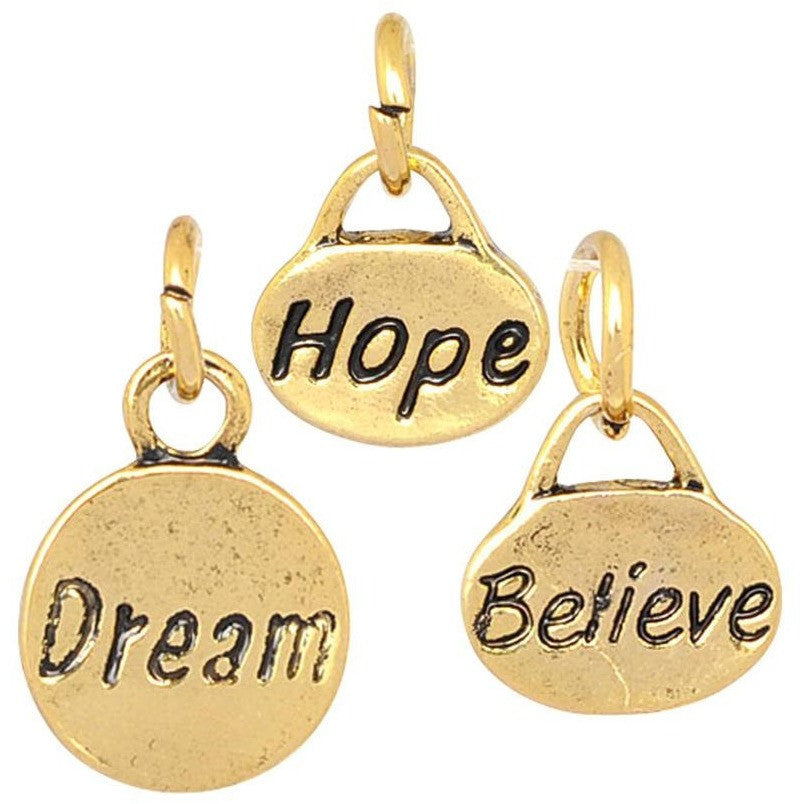 Charm Set  Hope Dream Believe Gold Plate - Beads and Dangles