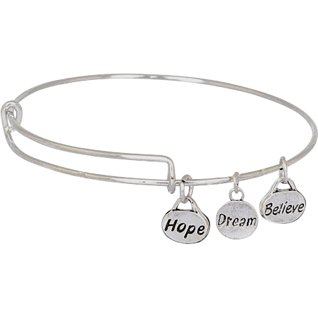 Hope Dream Believe on Stainless Steel Wire Bangle - Beads and Dangles